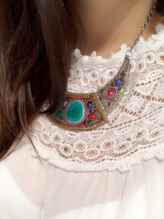 Colier Statement SIlver Colorful