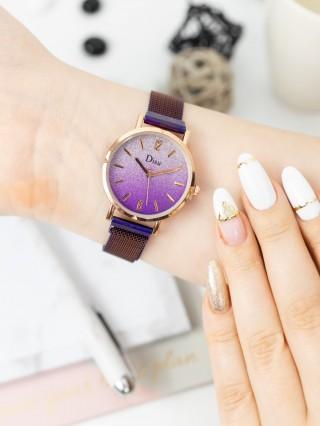 Ceas cu bratara magnetica Disu Glitter Purple