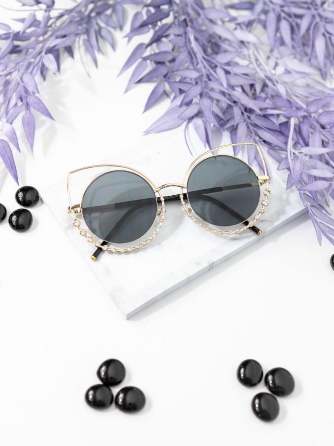 Ochelari de soare Cat Eye Diamond Gold V Black