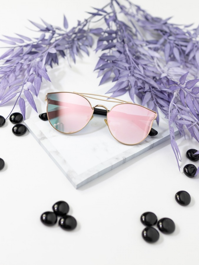Ochelari de soare Cat Eye Esam Pink Mirror