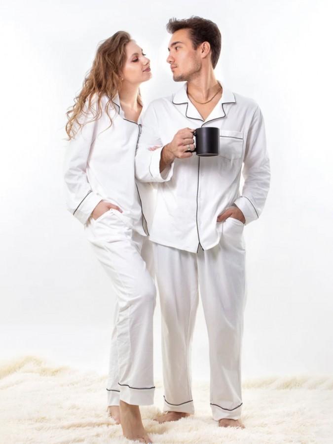 Set pijamale pentru cuplu din Satin Alb cu vipusca neagra