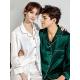 Set pijamale pentru cuplu din Satin Alb-Verde cu vipusca