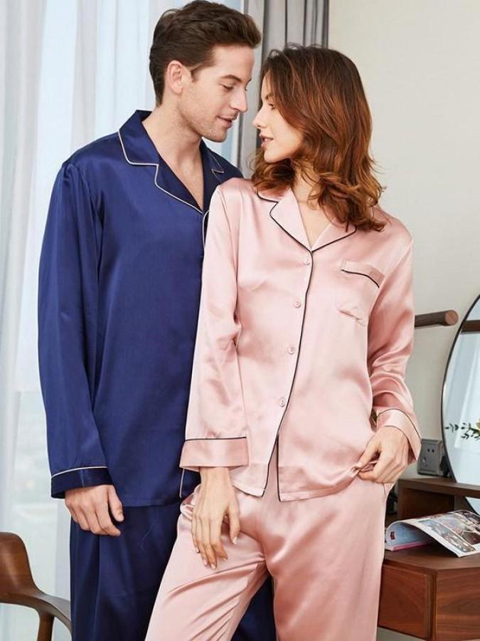 Set pijamale pentru cuplu din Satin Somon-Bleumarin cu vipusca