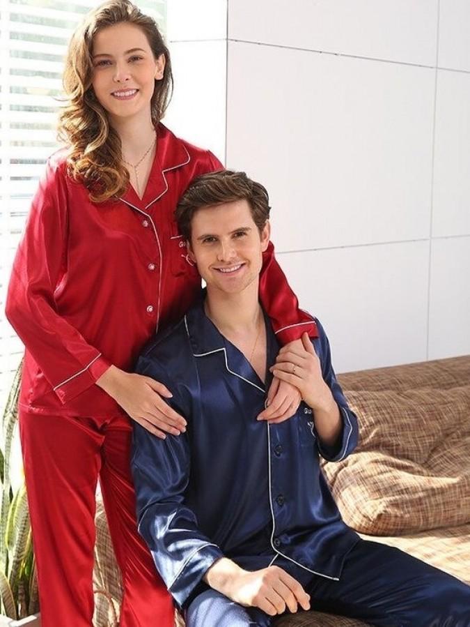Set pijamale pentru cuplu din Satin Rosu-Bleumarin cu vipusca