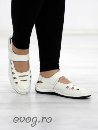Pantofi piele naturala Bimbo White
