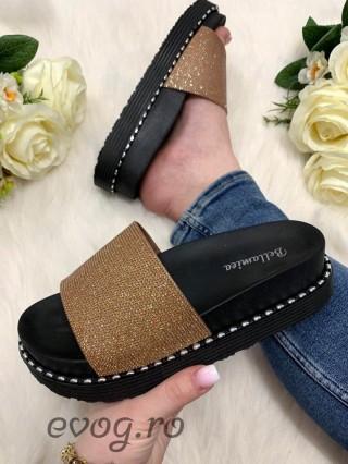 Papuci Glitter Gold