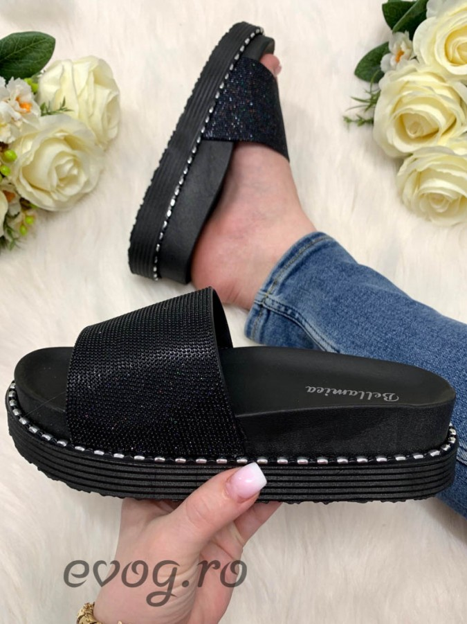 Papuci Glitter Black