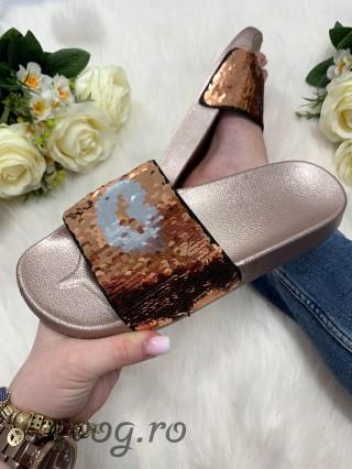 Papuci cu paiete Reversibile Kiss Gold