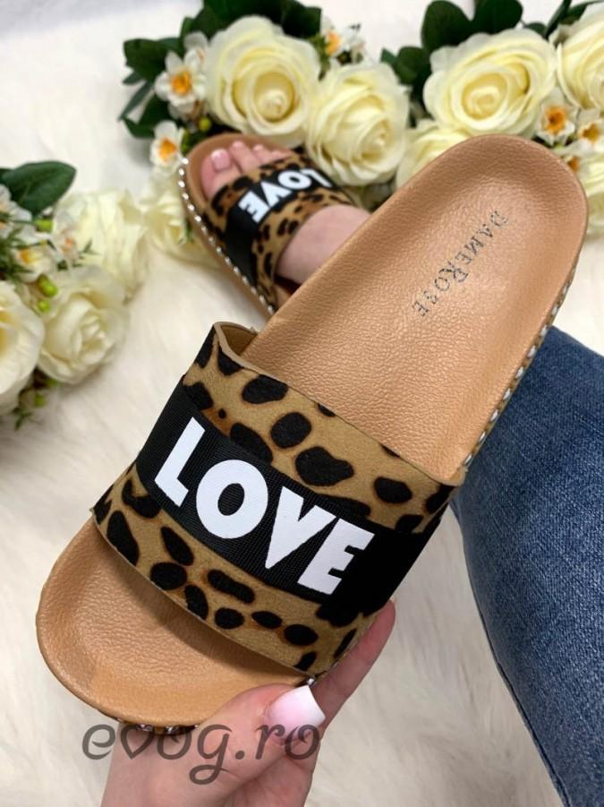Papuci LOVE Leopard