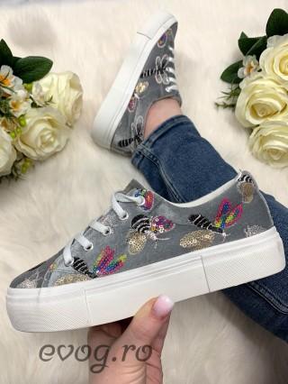 Sneakers Buble Velvet Gris