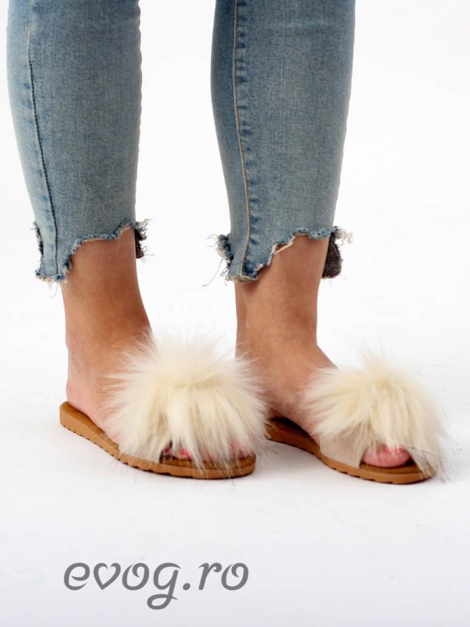 Papuci cu puf Fluffy Cream