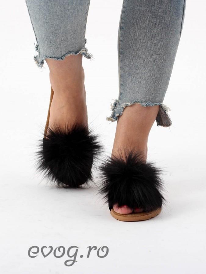 Papuci cu puf Fluffy Black