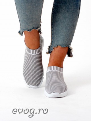 High Sneakers Balencia Stripes White V Grey
