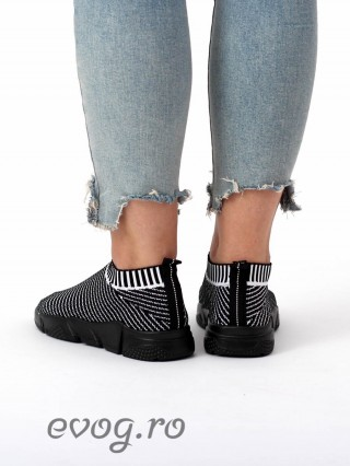 High Sneakers Balencia Stripes Black V White