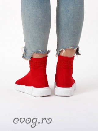 High Top Sneakers Balencia Simple Red