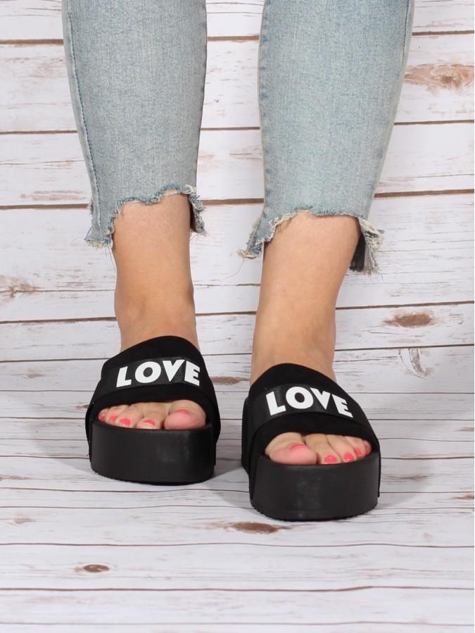 Papuci LOVE Black