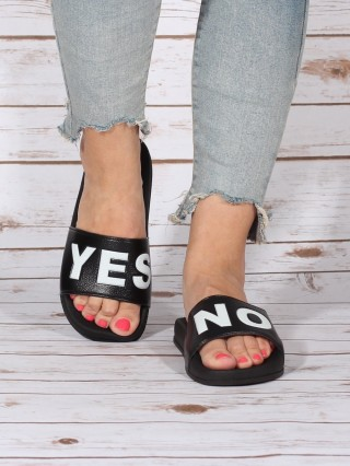 Papuci Yes No Black
