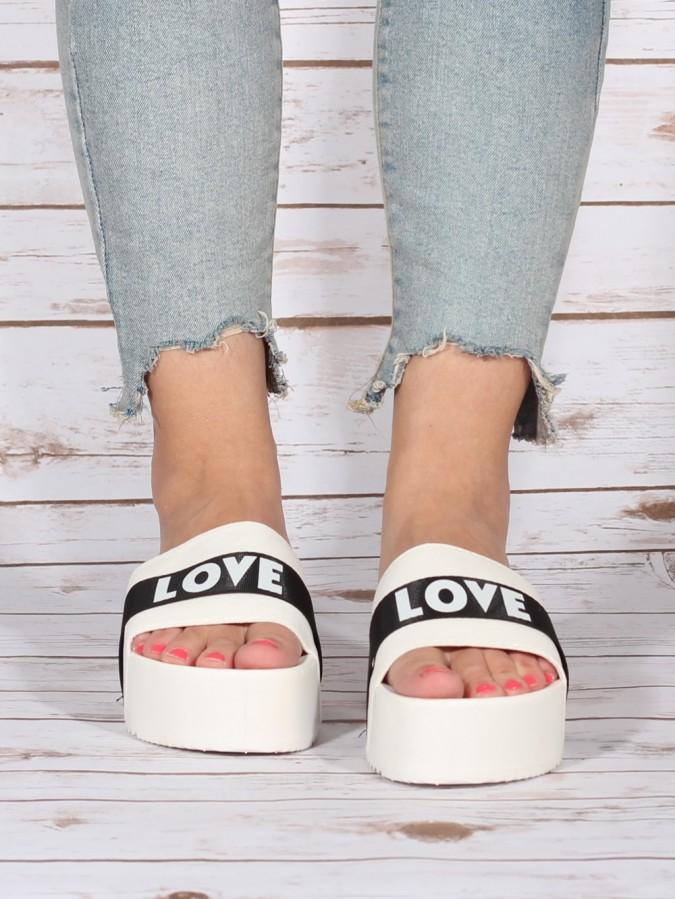 Papuci LOVE White