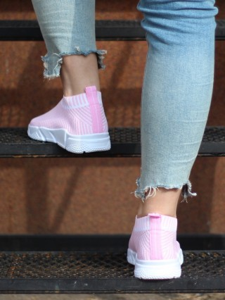 High Sneakers Balencia Stripes Pink V White