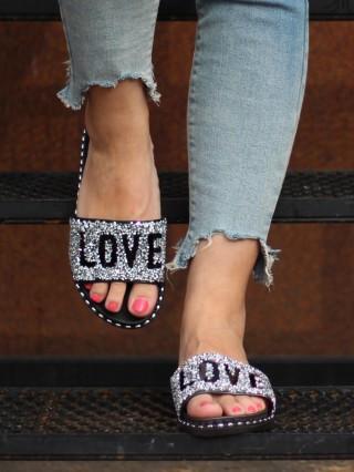 Papuci LOVE Glitter Grey