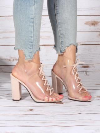 Sandale cu toc gros Beige