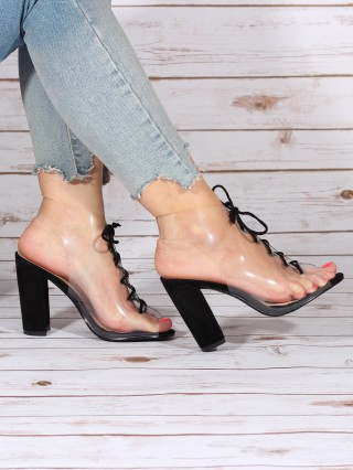 Sandale cu toc gros Bonnie Black