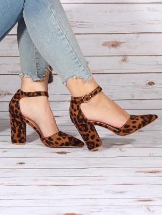 Sandale Stiletto cu toc patrat Leopard