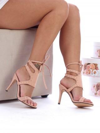 Sandale cu toc Estrella Pink