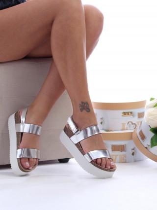 Sandale cu platforma medie Sofie SILVER