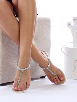 Sandale cu talpa joasa Diana Silver
