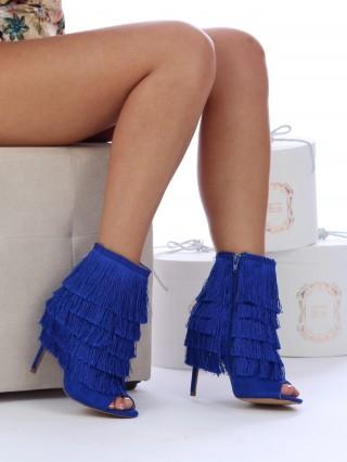 Sandale cu toc Fringes Blue