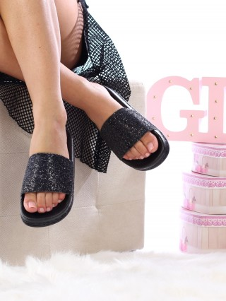 Papuci Sparkle All Black