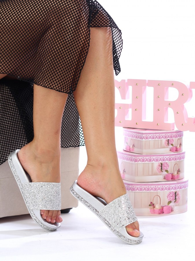 Papuci Sparkle Silver