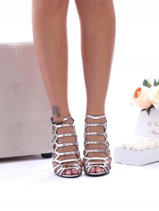 Sandale cu toc Fiorella Silver