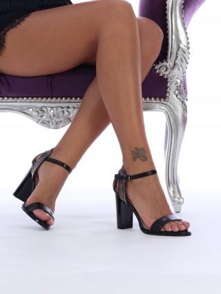 Sandale cu toc Britney Black/ Silver