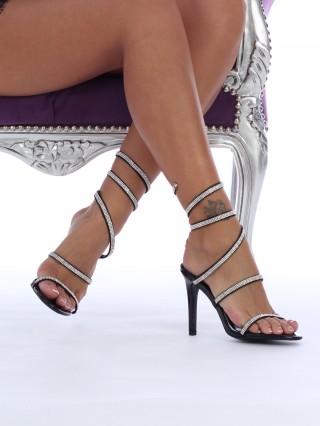 Sandale cu toc cui Beverly Black