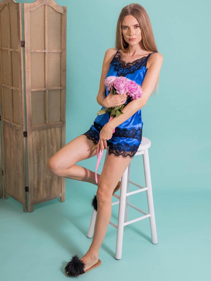 Pijama Luxury din Satin Albastru cu dantela neagra cod PJS294