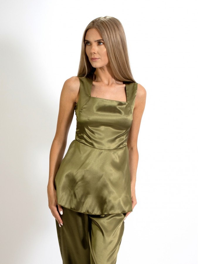 Compleu din doua piese, maieu baby doll si pantalon lung drept din Satin verde olive