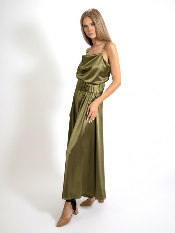 Compleu din doua piese cu maieu si fusta pantalon lunga verde olive din Satin