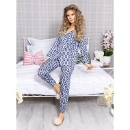 Pijama 2 piese Luxury cu vipusca din Satin Bleumarin - Alb cod PJN26