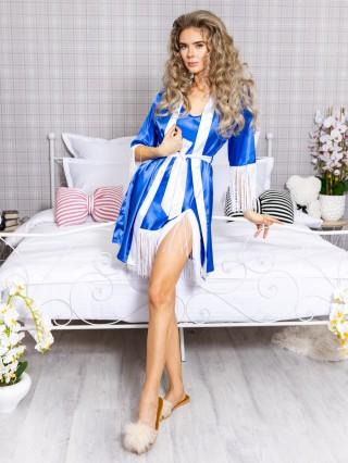 Set Rochita de Noapte si Halat Luxury Albastru-Alb cu franjuri cod PJS213