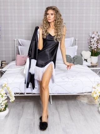Set Rochita de Noapte si Halat Luxury Negru-Alb cu franjuri cod PJS214