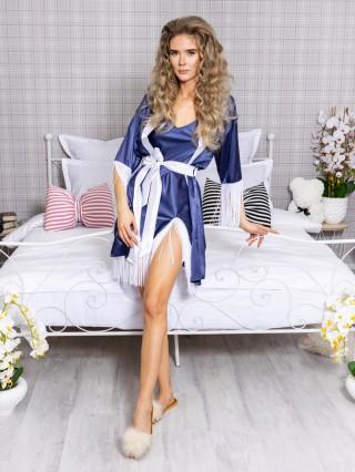 Set Rochita de Noapte si Halat Luxury Bleumarin-Alb cu franjuri cod PJS216