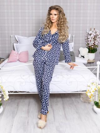 Pijama 2 piese Luxury cu vipusca din Satin Bleumarin - Alb cod PJN28
