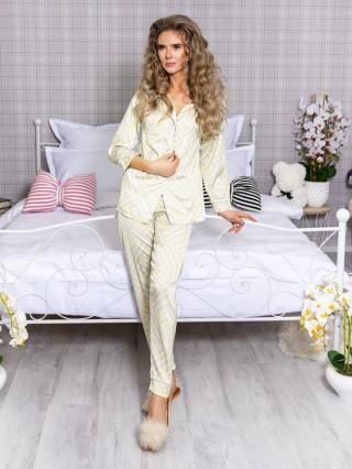 Pijama 2 piese Luxury cu vipusca din Satin Galben-Gri cod PJN29