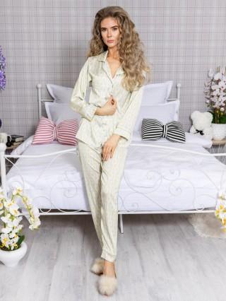 Pijama 2 piese Luxury cu vipusca din Satin Galben-Gri cod PJN31