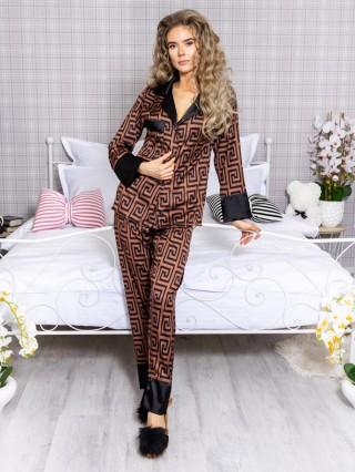 Pijama 2 piese Luxury din Satin Greek Cristal Black - Brown cod PJN35