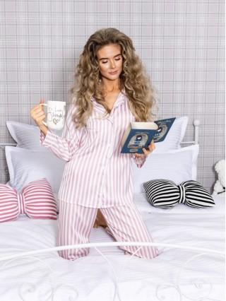 Pijama Luxury din Satin Stripes Roz-Alb cu vipusca alba cod PJS24