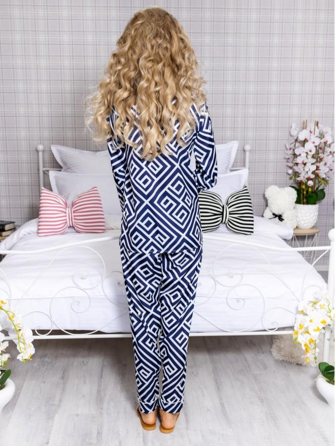 Pijama 2 piese Luxury cu vipusca din Satin Bleumarin - Alb cod PJN24