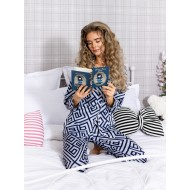 Pijama 2 piese Luxury cu vipusca din Satin Bleumarin - Alb cod PJN27